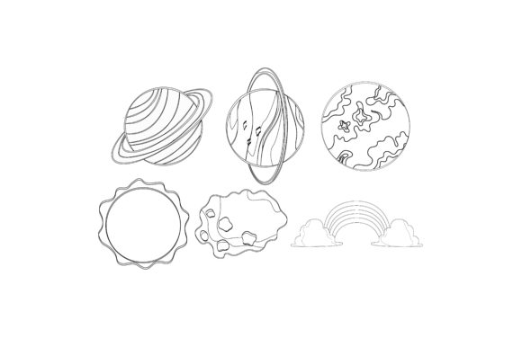 Download Free Sky Objects Graphic Set Outline Graphic By Printablesplazza for Cricut Explore, Silhouette and other cutting machines.