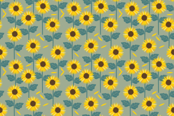Sunflowers Field Background Seamless Graphic Patterns By thanaporn.pinp