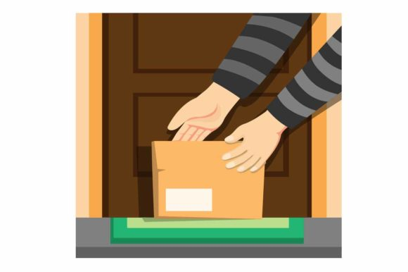 Print on Demand: Thief Hand Take Package Box Front Door Graphic Illustrations By aryo.hadi