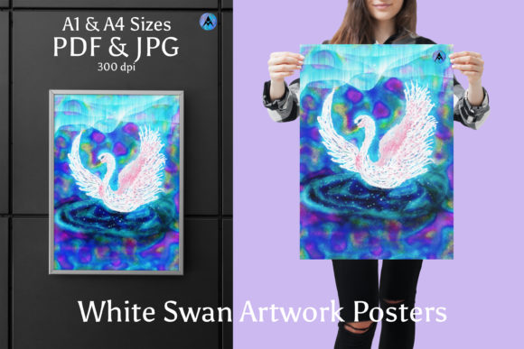 Print on Demand: WHITE SWAN Artwork Poster in A1 & A5 Graphic Illustrations By JATA Arts