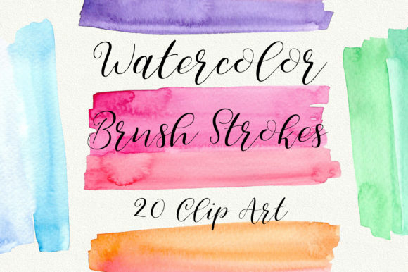 Watercolor Brush Strokes Clip Art Graphic Backgrounds By PinkPearly