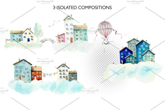 Watercolor Houses in Clouds Graphic Illustrations By Мария Кутузова - Image 3
