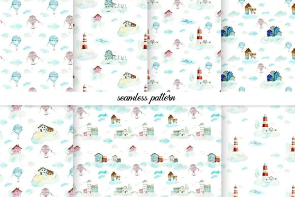 Watercolor Houses in Clouds Graphic Illustrations By Мария Кутузова - Image 4
