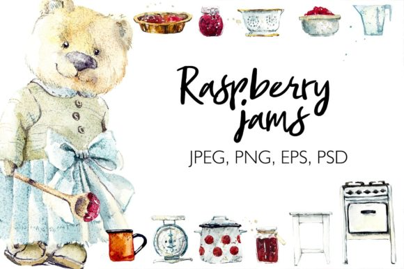 Watercolor Raspberry Jam Grafik Illustrationen von Мария Кутузова