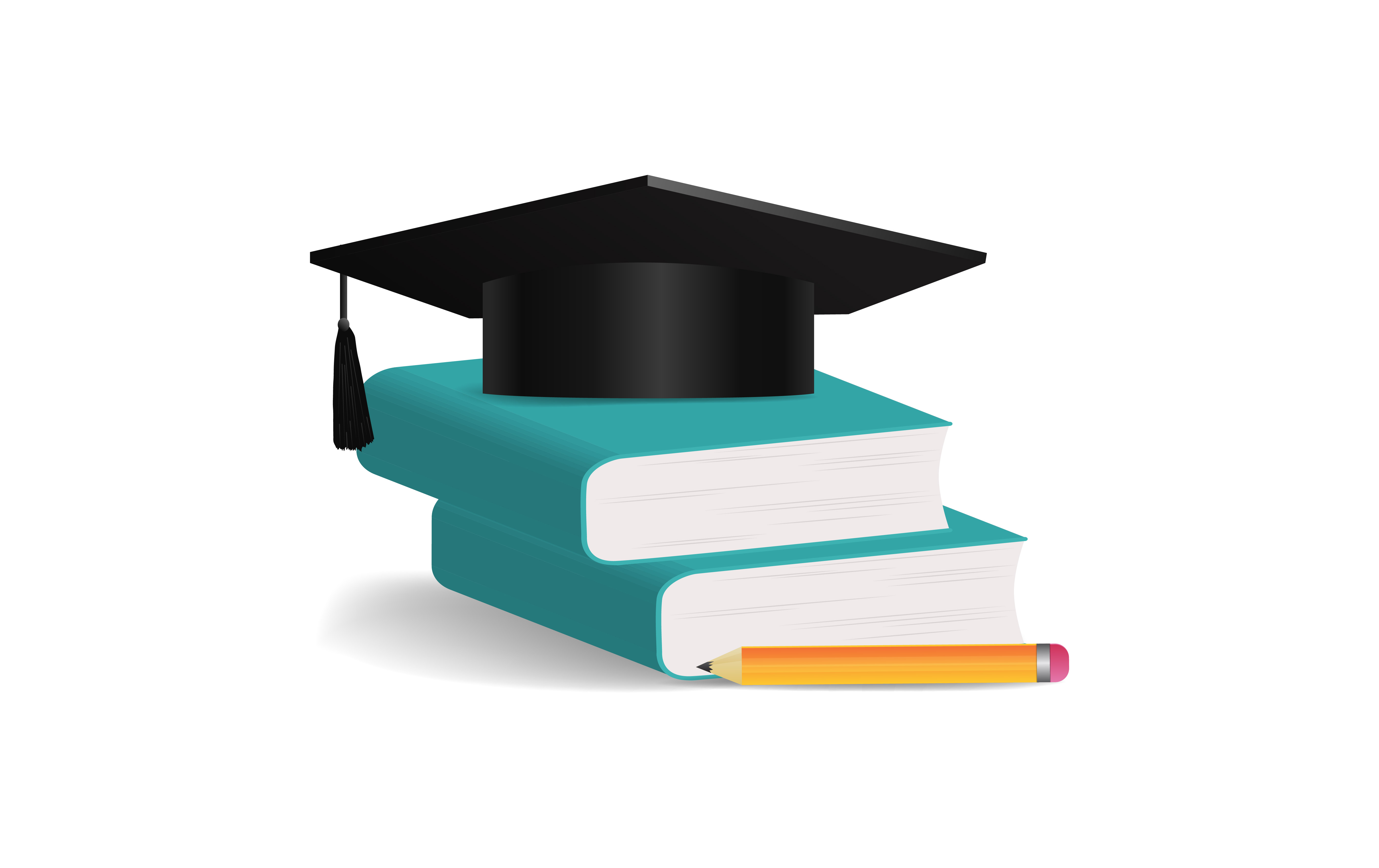 Download Free Graduation Cap With Book Pencil Graphic By Ngabeivector for Cricut Explore, Silhouette and other cutting machines.