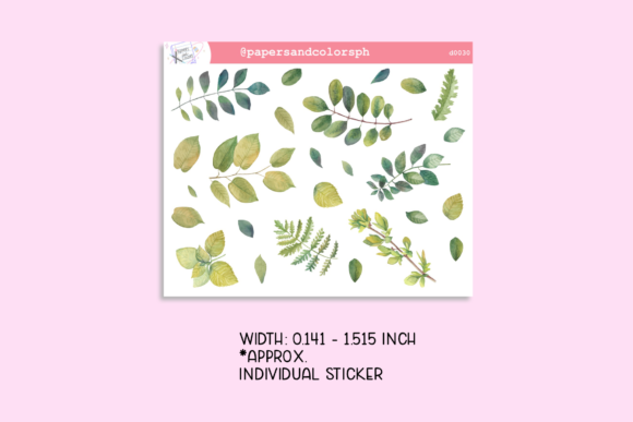 Leaves Sticker Sheet Graphic Illustrations By Printables by Papers