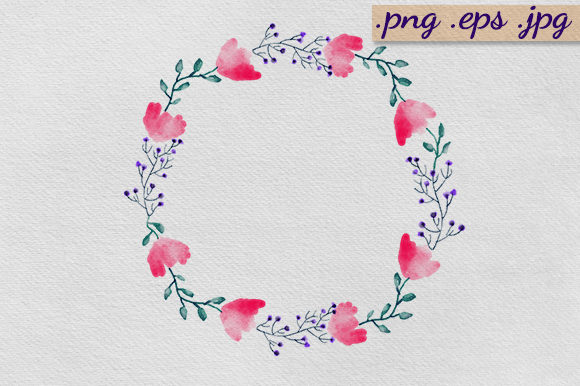 Download Free Watercolour Floral Wreath Graphic By Luckycharmz Designs for Cricut Explore, Silhouette and other cutting machines.
