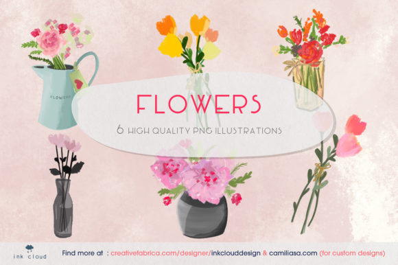 Download Free 6 Flowers Illustrations Cute Clip Art Graphic By Inkclouddesign for Cricut Explore, Silhouette and other cutting machines.