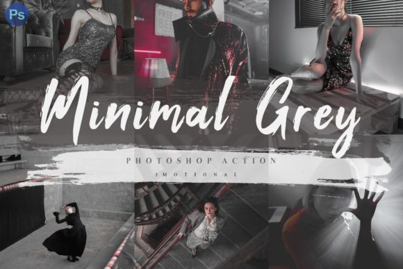 Print on Demand: 7 Minimal Grey Photoshop Actions ACR LUT Graphic Actions & Presets By 3Motional