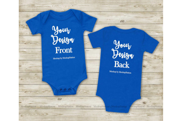 Print on Demand: Baby Bodysuit Front & Back Royal Blue Graphic Product Mockups By Mockup Station
