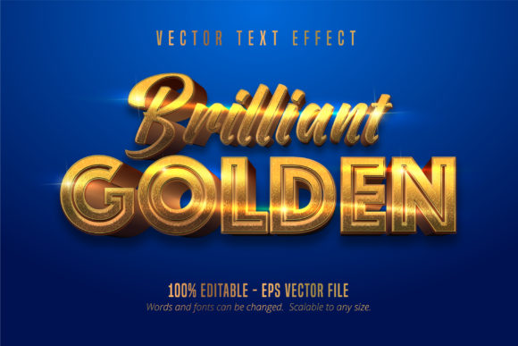 Print on Demand: Brilliant Golden Editable Text Effect Graphic Graphic Templates By Mustafa Bekşen
