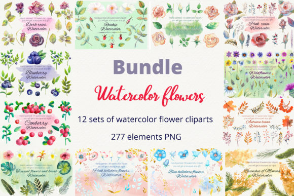 Print on Demand: Bundle. Watercolor Flowers. Clipart Graphic Illustrations By Natika_art