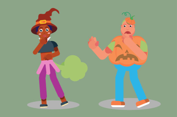 Print on Demand: Characters of a Farting Witch and a Boy Graphic Illustrations By altumfatih