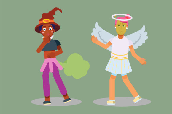 Download Free Characters Of An Angel And A Weird Witch Graphic By Altumfatih for Cricut Explore, Silhouette and other cutting machines.