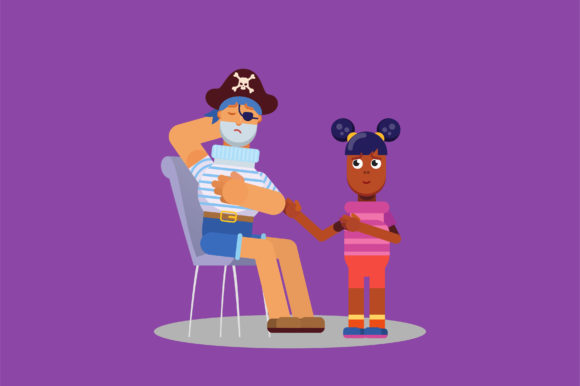 Download Free Characters Of Little Girl Help A Pirate Graphic By Altumfatih for Cricut Explore, Silhouette and other cutting machines.