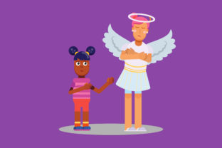 Download Free Characters Of Little Kid Help Sad Angel Graphic By Altumfatih for Cricut Explore, Silhouette and other cutting machines.