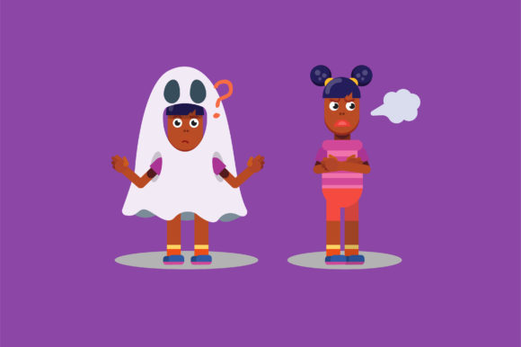 Download Free Characters Of Sulking Twins Halloween Graphic By Altumfatih for Cricut Explore, Silhouette and other cutting machines.