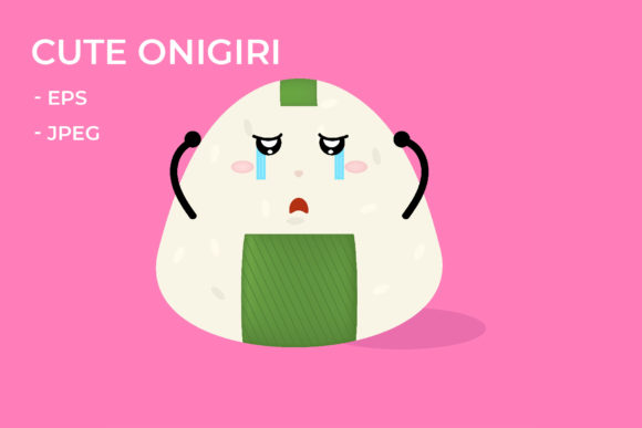 Download Free Crying Expression Onigiri Graphic By Griyolabs Creative Fabrica for Cricut Explore, Silhouette and other cutting machines.