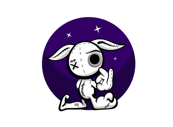 Cute Evil Rabbit Halloween Woodoo Toy Graphic Illustrations By Kapitosh