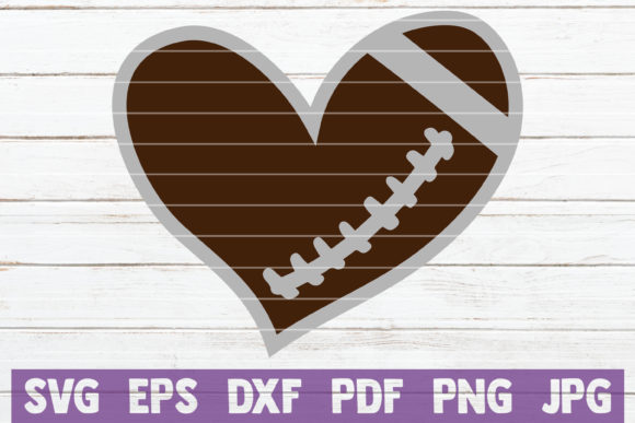 Download Free Football Heart Graphic By Mintymarshmallows Creative Fabrica for Cricut Explore, Silhouette and other cutting machines.