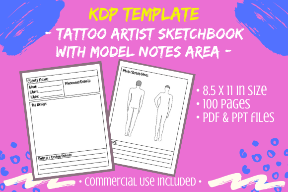 Print on Demand: KDP - Tattoo Artist SketchBook Interior Graphic KDP Interiors By Tomboy Designs