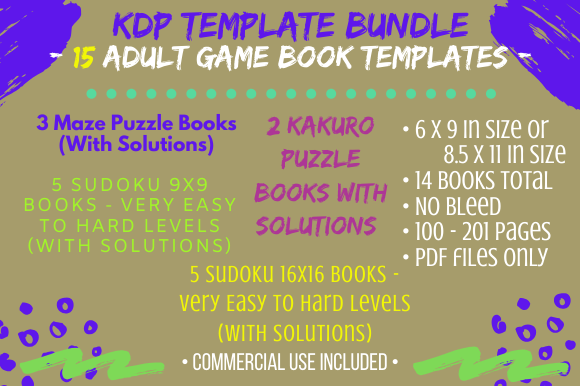 Print on Demand: KDP Template - Adult Game Book Bundle Graphic KDP Interiors By Tomboy Designs