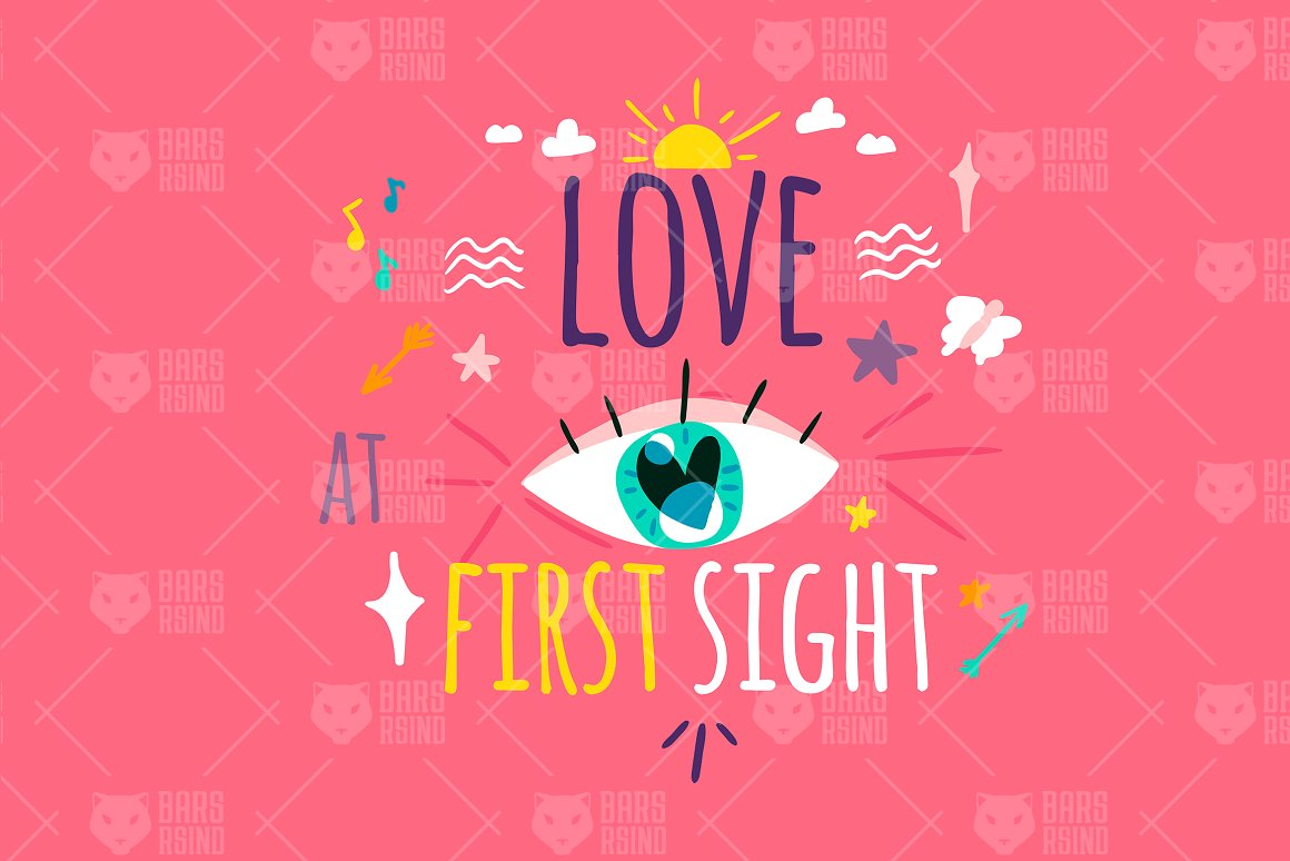 Download Free Love At First Sight Graphic By Barsrsind Creative Fabrica for Cricut Explore, Silhouette and other cutting machines.