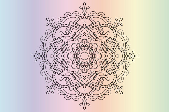 Print on Demand: Mandala Coloring Page Template Vector Graphic Coloring Pages & Books Adults By GraphicsFarm