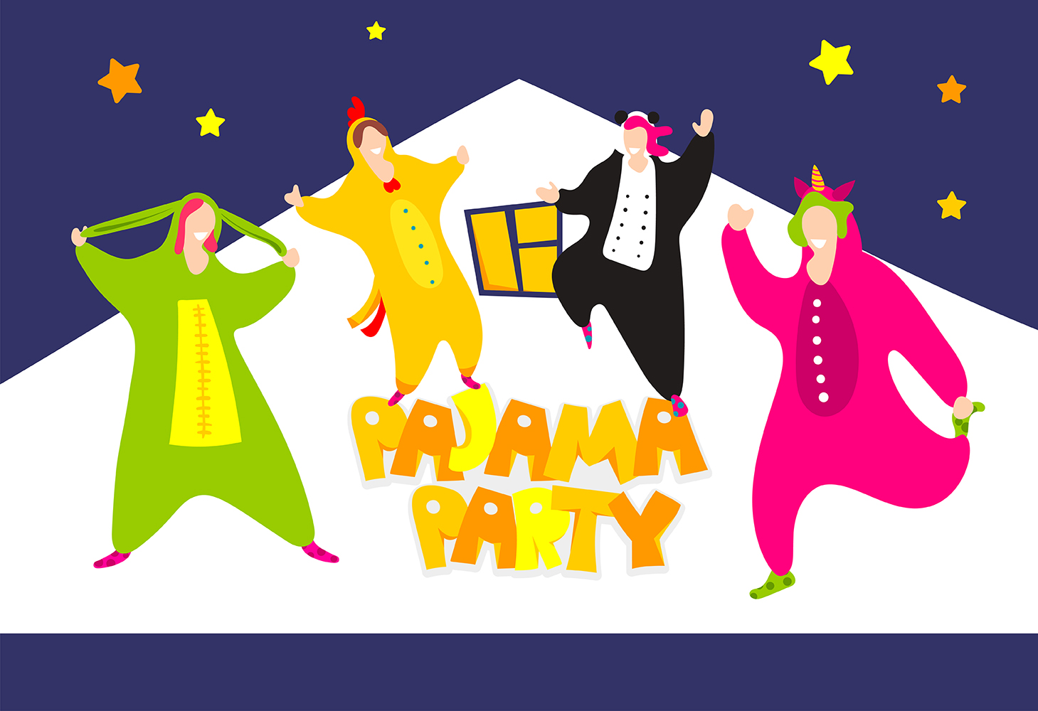 Download Free Pajama Party Friends In Pajamas Poster Graphic By Kapitosh for Cricut Explore, Silhouette and other cutting machines.