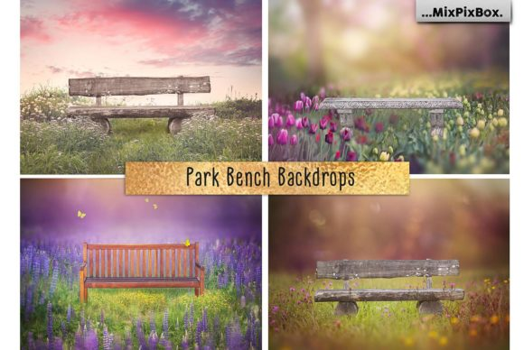 Print on Demand: Park Bench Backdrops Graphic Layer Styles By MixPixBox