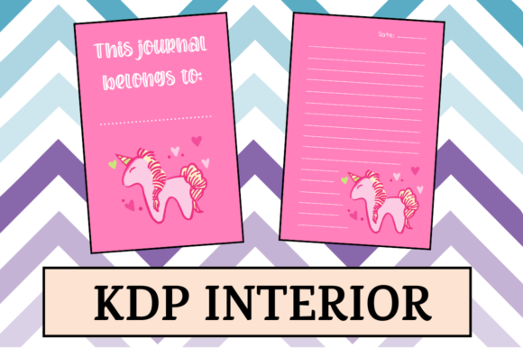 Print on Demand: Pink Journal with Unicorn | KDP Interior Graphic KDP Interiors By Hungry Puppy Studio