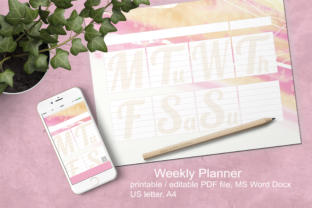 Print on Demand: Pink Watercolor Weekly Planner A4 Graphic Print Templates By print.cut.hang