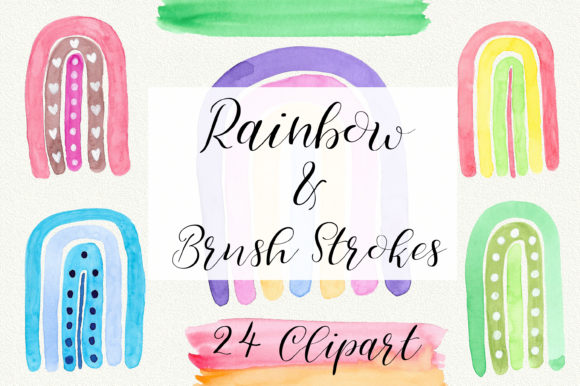 Rainbow Watercolor and Brush Strokes Graphic Illustrations By PinkPearly