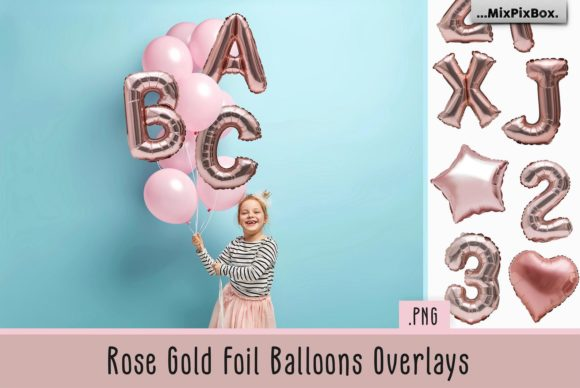 Print on Demand: Rose Gold Foil Balloons Overlays Graphic Layer Styles By MixPixBox