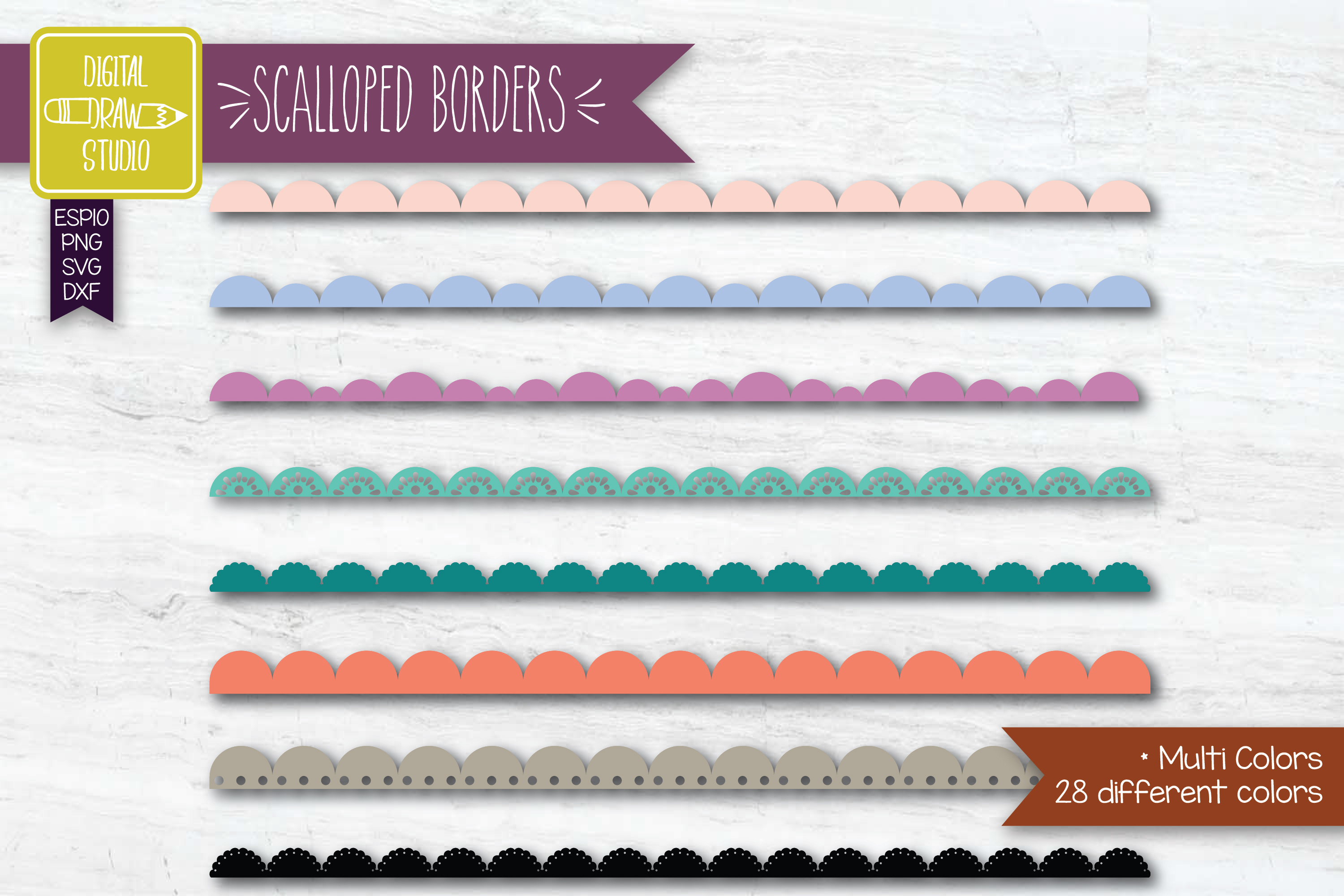 Download Free Scalloped Border Colored Lace Divider Graphic By for Cricut Explore, Silhouette and other cutting machines.