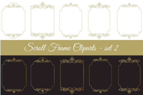 Download Free Scroll Frame Clipart Set 2 Graphic By Biljanacvetanovic Creative Fabrica for Cricut Explore, Silhouette and other cutting machines.