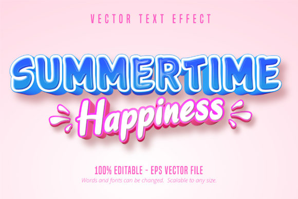 Print on Demand: Summertime Happiness Text Effect Graphic Graphic Templates By Mustafa Bekşen