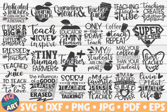 Download Free Teacher Quotes Bundle 25 Designs Graphic By Mihaibadea95 Creative Fabrica for Cricut Explore, Silhouette and other cutting machines.