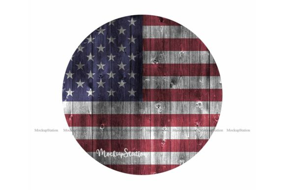 Download Free Usa Flag Circle Wood Background Bundle Graphic By Mockup Station for Cricut Explore, Silhouette and other cutting machines.