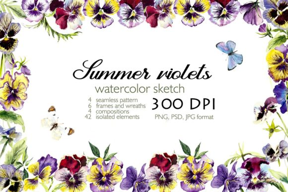 Watercolor Set Blooming Violets Grafik Illustrationen von Мария Кутузова