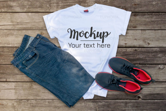 Download Free White T Shirt Mockup Graphic Graphic By Euphoria Design for Cricut Explore, Silhouette and other cutting machines.