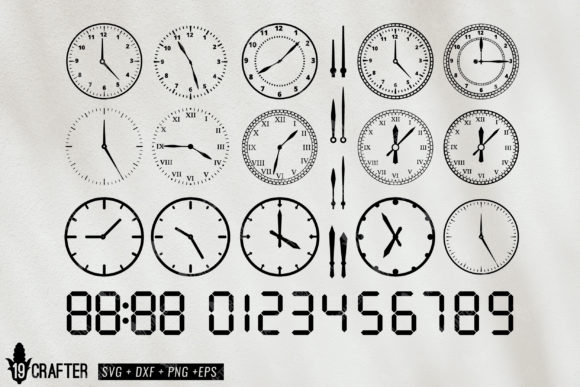 Download Free Round Clock And Clock Digital Number Graphic By Great19 for Cricut Explore, Silhouette and other cutting machines.