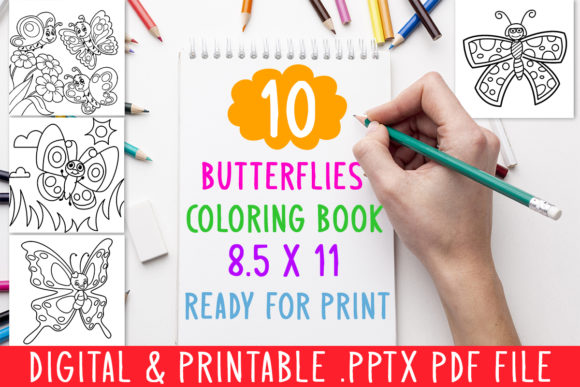 Print on Demand: 10 Butterflies Coloring Book for Kids Graphic Coloring Pages & Books Kids By DesignsBundles