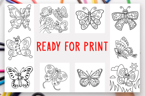 Download Free 10 Butterflies Coloring Book For Kids Graphic By Designsbundles for Cricut Explore, Silhouette and other cutting machines.