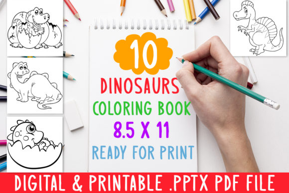 10 Dinosaurs Coloring Book for Kids Graphic Coloring Pages & Books Kids By DesignsBundles - Image 1