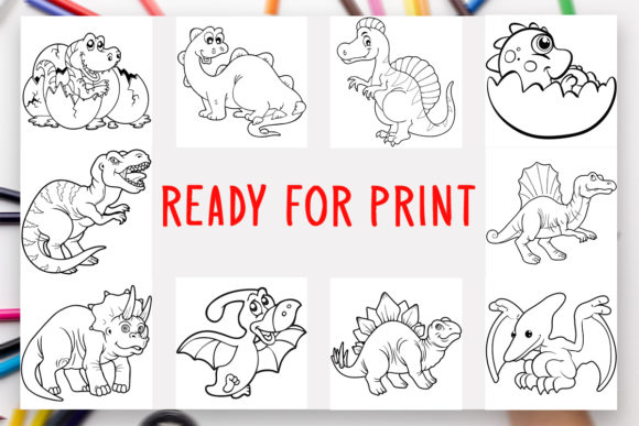 10 Dinosaurs Coloring Book for Kids Graphic Coloring Pages & Books Kids By DesignsBundles - Image 2