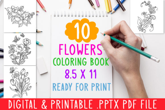 10 Flowers Coloring Book for Kids Graphic Coloring Pages & Books Kids By DesignsBundles