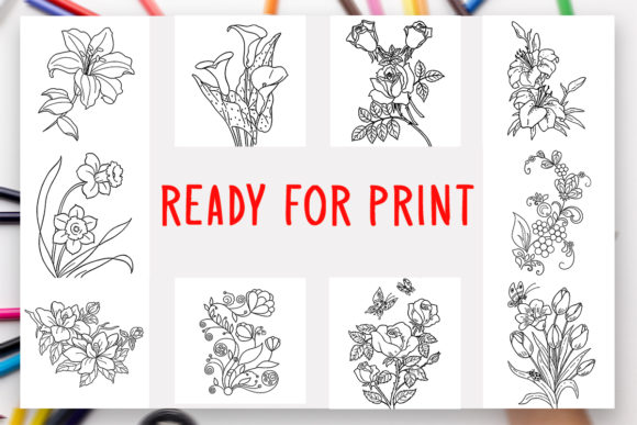 Download Free 10 Flowers Coloring Book For Kids Graphic By Designsbundles for Cricut Explore, Silhouette and other cutting machines.