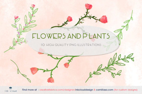 Print on Demand: 10 Flowers Plants Illustration Clip Art Graphic Illustrations By Inkclouddesign