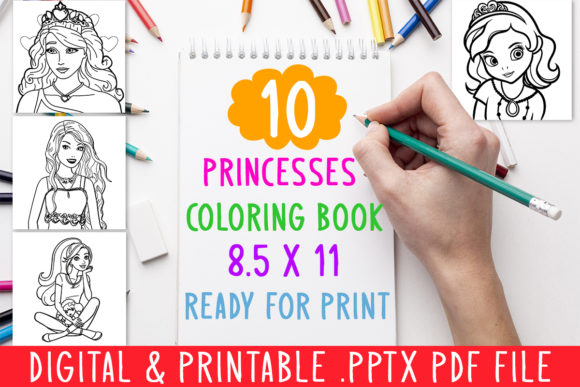 10 Princesses Coloring Book for Kids Graphic Coloring Pages & Books Kids By DesignsBundles - Image 1